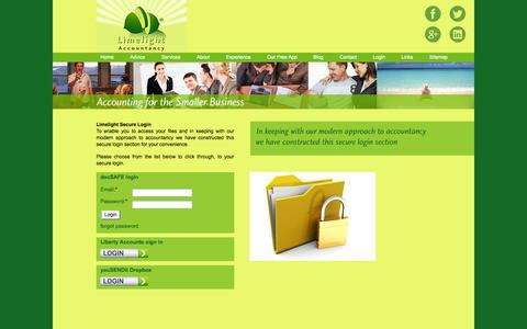 Screenshot of Login Page limelight-accountancy.co.uk - Limelight Accountancy - Accountants in Haslemere and Liphook - captured Oct. 2, 2014
