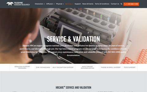 Screenshot of Services Page hansonresearch.com - Service & Validation - Teledyne Hanson - captured Sept. 27, 2018
