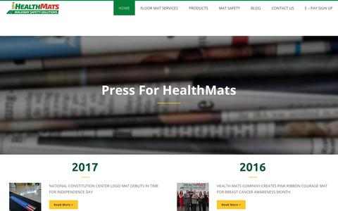 Screenshot of Press Page healthmats.com - The History of Health Mats - captured July 26, 2017
