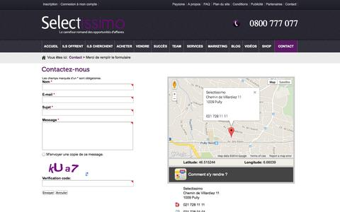 Screenshot of Contact Page selectissimo.ch - Contact - captured Sept. 26, 2014