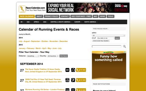Screenshot of Home Page race-calendar.com - Race Calendar - Race-Calendar.com - captured Sept. 25, 2014