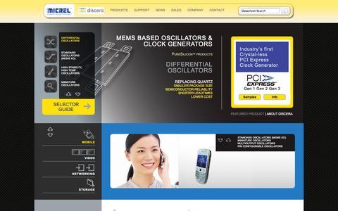 Screenshot of Home Page discera.com - Discera - PureSilicon™ MEMS Oscillators and Clock Generators - captured Sept. 15, 2014