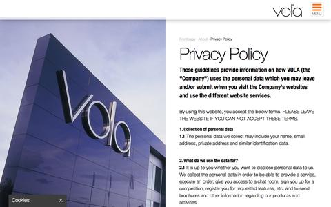 Screenshot of Privacy Page vola.com - Privacy Policy   VOLA - captured Sept. 30, 2016
