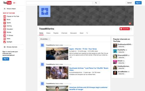 Screenshot of YouTube Page youtube.com - TraseMillerInc  - YouTube - captured Oct. 23, 2014