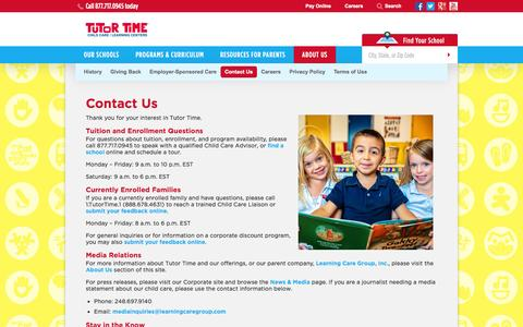 Screenshot of Contact Page tutortime.com - Contact Us | Tutor Time Learning Centers - captured Sept. 24, 2014