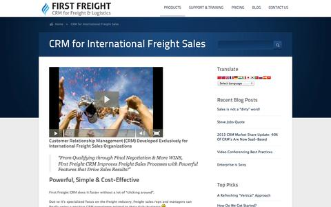 Screenshot of Products Page firstfreight.com - CRM for International Freight Sales   |   First Freight CRM - CRM for the Global Freight Industry - captured Oct. 6, 2014