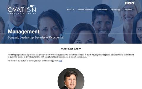 Screenshot of Team Page ovationtravel.com - Management | About Us | Ovation Corporate Travel - captured Oct. 22, 2017