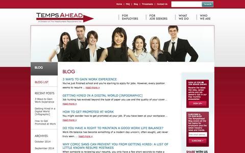 Screenshot of Blog tempsahead.com - Blog | TempsAhead | Temp, Staffing & Job Placement Agency | Temporary Employment - captured Oct. 9, 2014