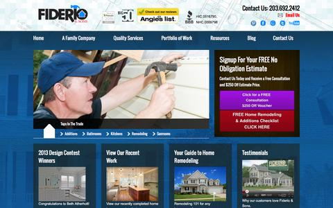 Screenshot of Home Page fiderio.com - Home Remodeling CT | Siding CT | Windows CT | Roofing CT - captured Feb. 9, 2016