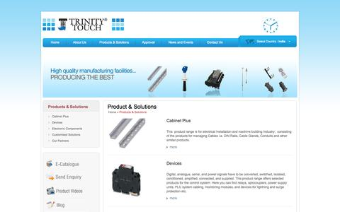 """Screenshot of Products Page trinitytouch.com - Products & Solutions  Trinity Touch Pvt. Ltd.   """"Simply Solutions"""" - captured Oct. 8, 2014"""