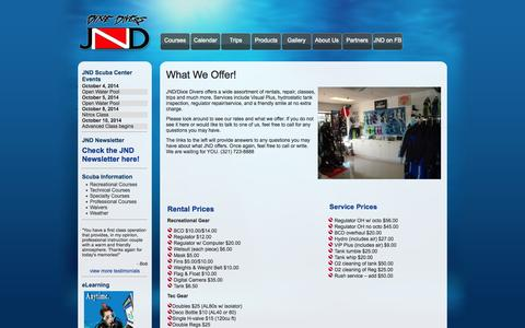 Screenshot of Products Page jndscuba.com - Products - JND Scuba - captured Oct. 4, 2014