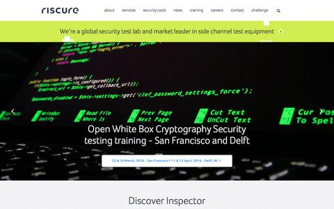 Screenshot of Home Page riscure.com - Home - Riscure - captured Feb. 23, 2016