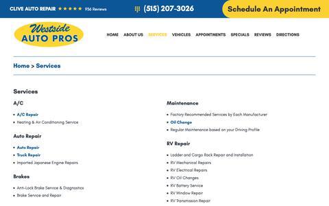 Screenshot of Services Page westsideautopros.com - Services - Westside Auto Pros inc. - captured Jan. 22, 2019