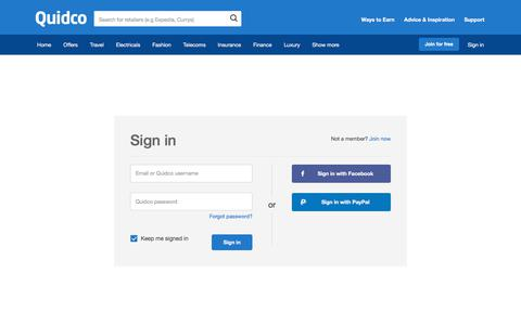 Screenshot of Login Page quidco.com - Quidco - Sign In - captured April 16, 2018