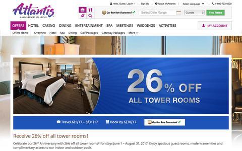 Screenshot of atlantiscasino.com - 25% Off All Tower Rooms | Atlantis Anniversary Hotel Room Special - captured June 5, 2017
