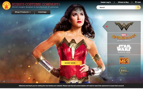 Screenshot of Home Page rubies.com - Rubie's - World's Largest Costume Manufacturer & Supplier - captured April 21, 2017