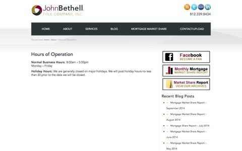 Screenshot of Hours Page johnbtitle.com - Hours of Operation | John Bethell Title Company - captured Nov. 3, 2014