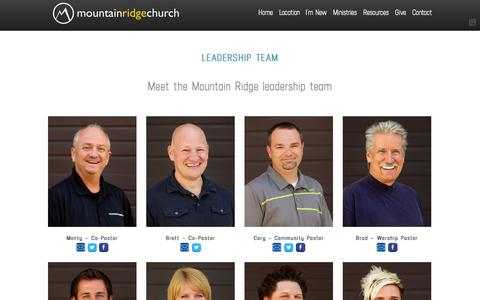 Screenshot of Team Page mountainridge.org - The Team «  Mountain Ridge Church - captured Nov. 3, 2014