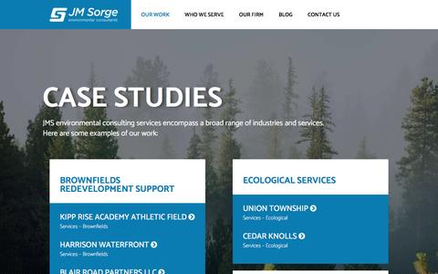 Screenshot of Case Studies Page jmsorge.com - Case Studies - JM Sorge - captured Nov. 18, 2016