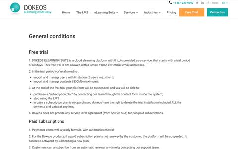 Find out the general conditions for Dokeos elearning services support