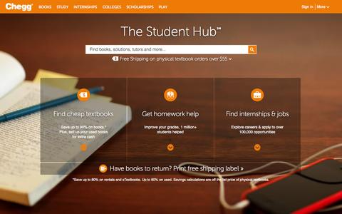 Screenshot of Home Page chegg.com - Chegg - Save up to 90% on Textbooks | #1 in Textbook Rental! - captured June 17, 2015