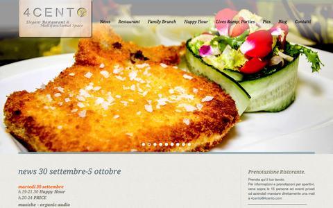 Screenshot of Home Page 4cento.com - home4 C E N T O | Elegant Restaurant & Multifunctional Space - captured Sept. 30, 2014