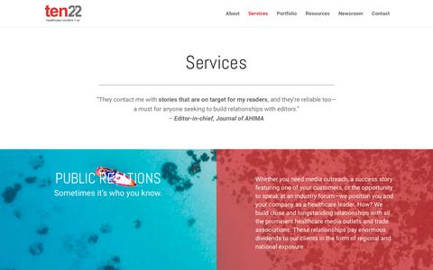 Screenshot of Services Page ten22pr.com - Services - Agency Ten22 - captured Nov. 12, 2018