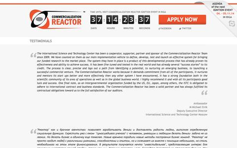 Screenshot of Testimonials Page commercializationreactor.com - CommercializationReactor - captured Sept. 30, 2014