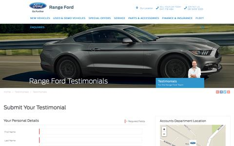 Screenshot of Testimonials Page rangeford.com.au - Range Ford Testimonials - Range Ford - captured Sept. 21, 2018