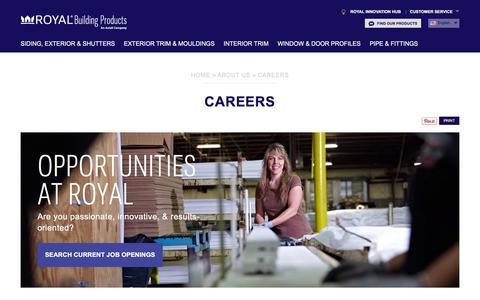 Screenshot of Jobs Page royalbuildingproducts.com captured Jan. 23, 2016