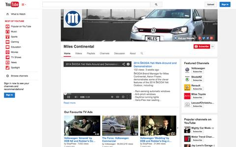 Screenshot of YouTube Page youtube.com - Miles Continental  - YouTube - captured Nov. 5, 2014