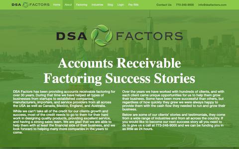 Screenshot of Case Studies Page dsafactors.com - Accounts Receivable Factoring Case Studies - DSA Factors - captured Sept. 8, 2019