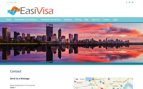 Screenshot of Contact Page easivisa.com - Contact Us   Independent Skilled Visa Consultants Perth - captured Nov. 24, 2016