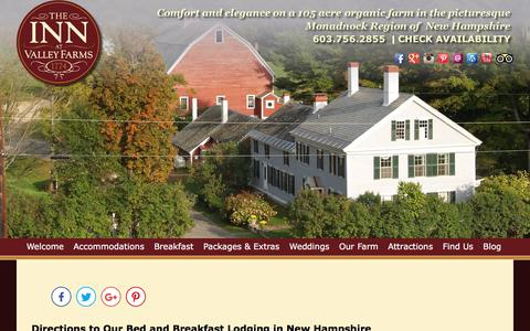 Screenshot of Contact Page Maps & Directions Page innatvalleyfarms.com - Bed and Breakfast Lodging near Keene NH & Putney Vermont - captured July 3, 2018