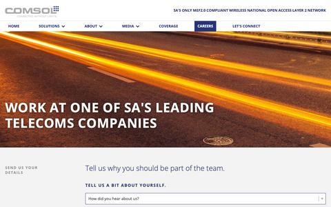 Screenshot of Jobs Page comsol.co.za - Work at Comsol   Careers - captured Sept. 29, 2018