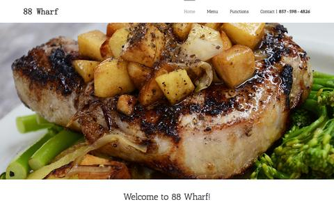 Screenshot of Home Page 88wharf.com - 88 Wharf Restaurant - captured May 17, 2016