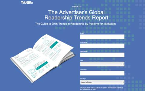 Screenshot of Landing Page taboola.com - Global Readership Report - captured Sept. 18, 2018