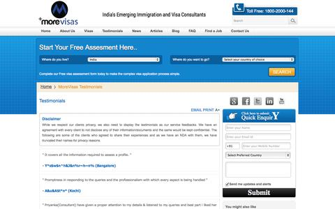 Screenshot of Testimonials Page morevisas.com - MoreVisas Testimonials - Reviews Customer Feedback - captured Oct. 26, 2014