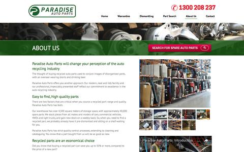Screenshot of About Page paradiseauto.com.au - About Us | Upgrade With Over 50,000 Quality Car Parts Online. Shop Now! - captured Oct. 20, 2016