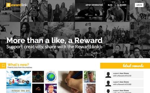 Screenshot of Home Page reward-link.com - Reward Link: Talent deserves more than a like - captured Aug. 14, 2015