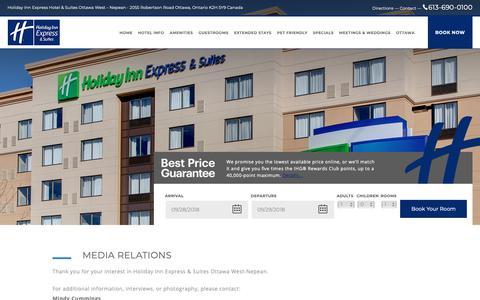 Screenshot of Press Page holidayinnexpressottawawest.com - Media - Holiday Inn Express Hotel & Suites Ottawa West – Nepean - captured Sept. 29, 2018