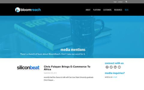 Screenshot of Press Page bloomreach.com - media mentions Archives - BloomReach - captured Sept. 13, 2014