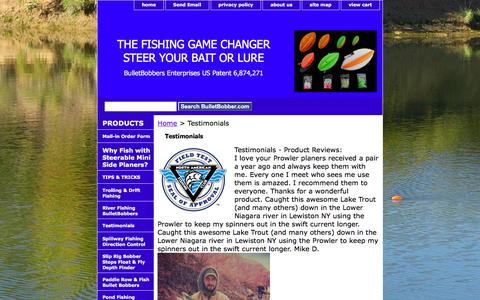 Screenshot of Testimonials Page bulletbobber.com - Testimonials from Fishing Clubs, Outdoor Outfitter Magazin about Bulletbobber - captured Nov. 23, 2016