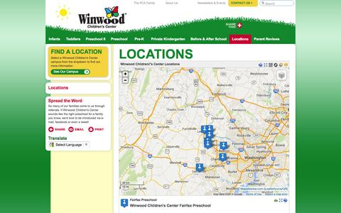 Screenshot of Locations Page winwood.com - Find a Location | Winwood Children's Center - captured Oct. 7, 2014