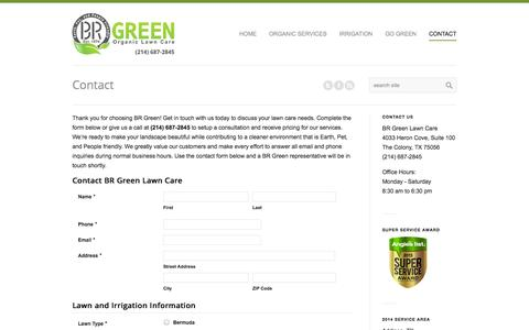 Screenshot of Contact Page brgreenlawncare.com - Organic Lawn Care Estimate - Free of Cost | BR Green - captured Oct. 4, 2014