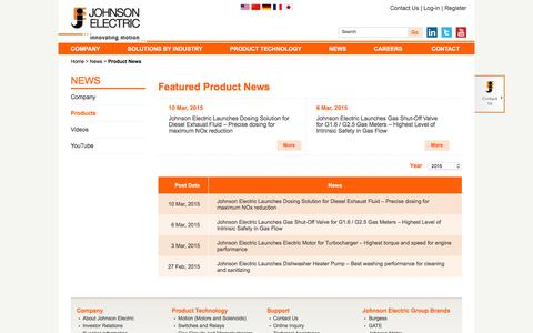 Screenshot of Products Page johnsonelectric.com - Product News -                News -                Johnson Electric - captured Dec. 20, 2015