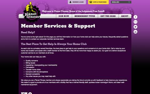 Screenshot of Support Page planetfitness.com - Member Services & Support | Planet Fitness - captured Sept. 18, 2014