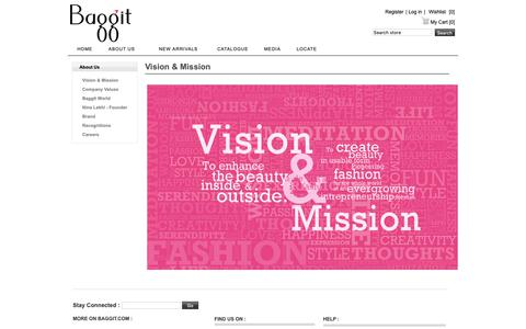Screenshot of About Page baggit.com - Vision and Mission - Baggit - captured Oct. 5, 2018
