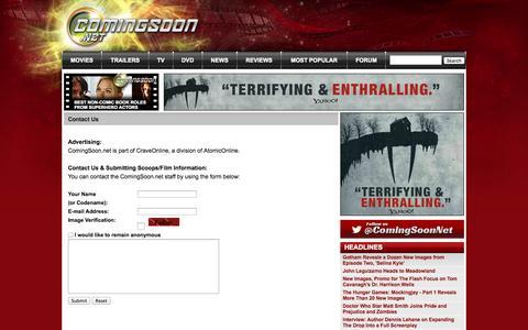 Screenshot of Contact Page comingsoon.net - ComingSoon.net - Contact Us - captured Sept. 18, 2014