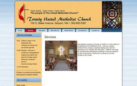 Screenshot of Services Page sequimtumc.org - Services – Sequim Trinity United Methodist - captured June 16, 2016